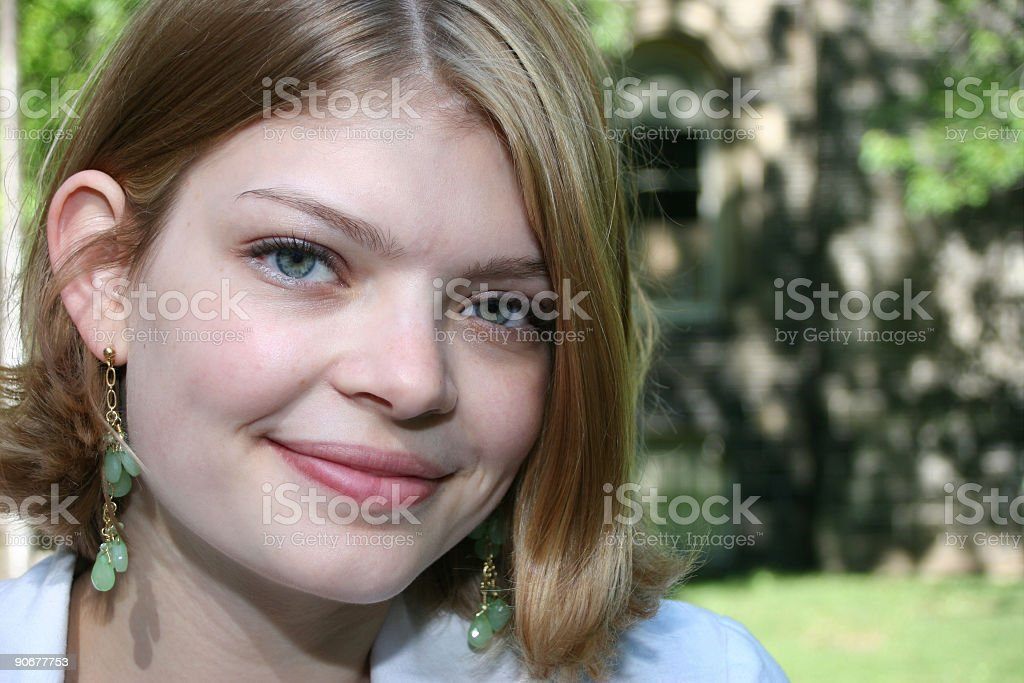 Headshot of Female in the Park royalty-free stock photo
