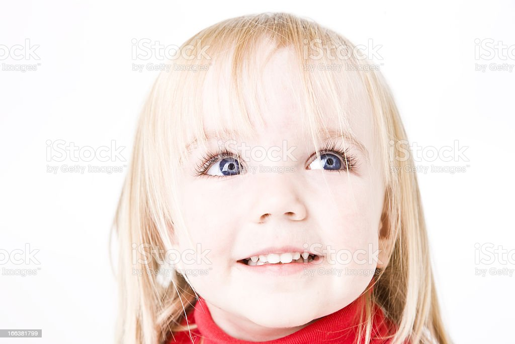 Headshot of Two Year Old Girl Smiling (XXL) royalty-free stock photo