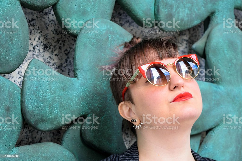 Head-shot of Young Fashionable White Woman stock photo