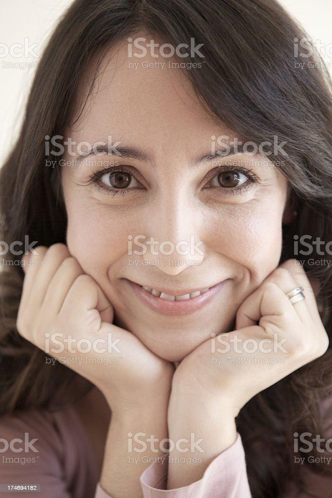 Headshot portrait of young hispanic woman stock photo