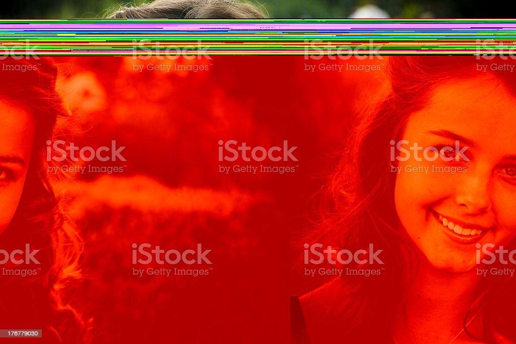 Headshot Suntanned Teenage Girl Outdoors Blue Eyes Pretty Smile royalty-free stock photo