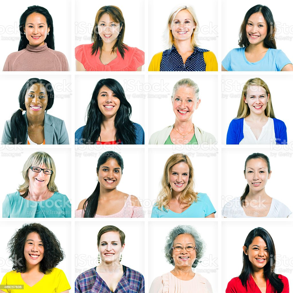 Headshots of Diverse Women and Women Only stock photo