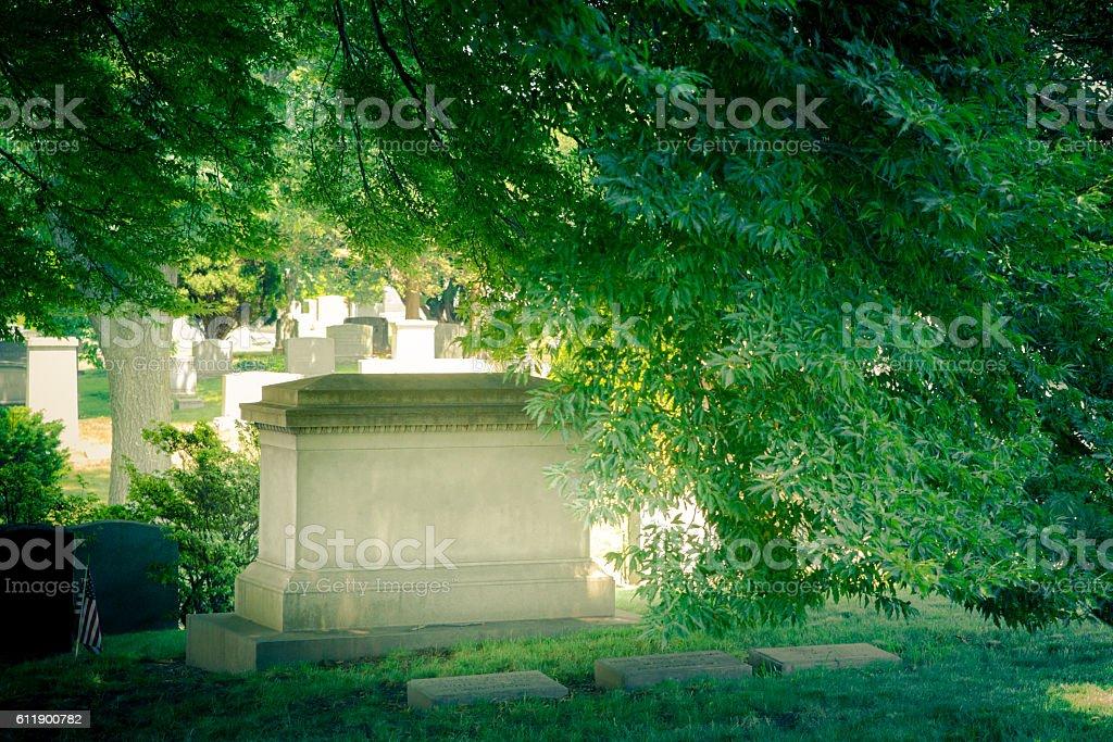 Headstone grave stock photo
