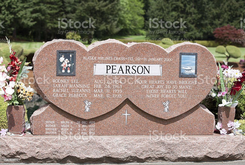Headstone of Airplane Crash Victims royalty-free stock photo
