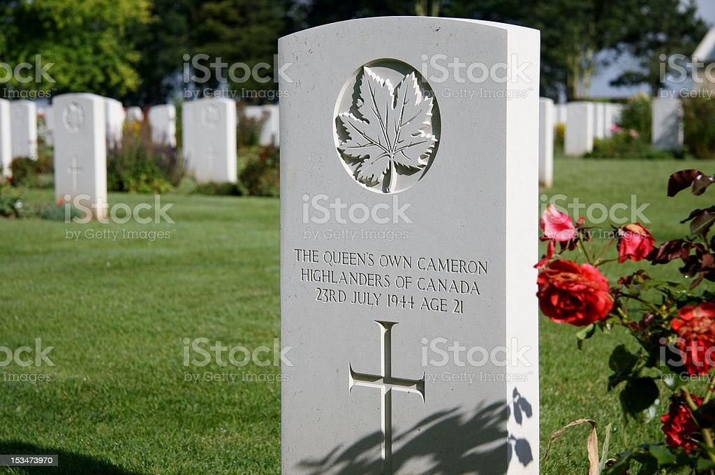 Headstone of fallen Canadian soldier royalty-free stock photo