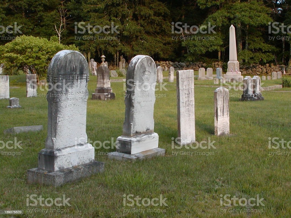 Headstones, Hopkins Hollow Cemetery, Hopkins Hollow (Coventry), royalty-free stock photo