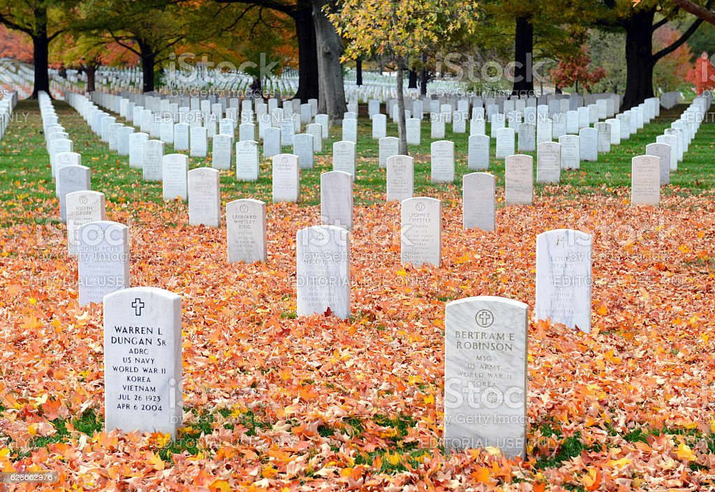 Headstones in Arlington National Cemetery in Washington DC, USA stock photo