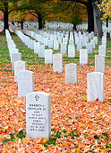 Headstones in Arlington National Cemetery in Washington DC, USA