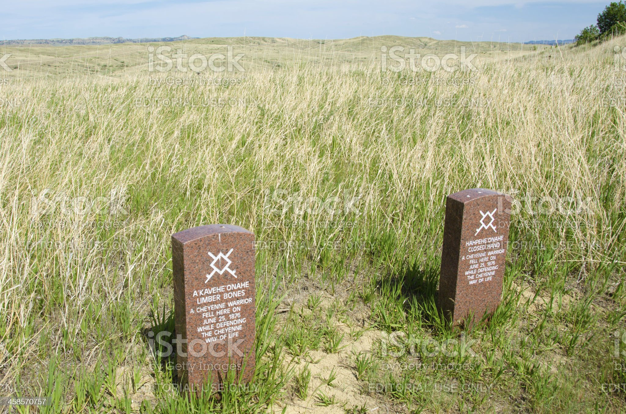 Headstones of two Cheyenne warriors killed at Little Bighorn Battlefield royalty-free stock photo