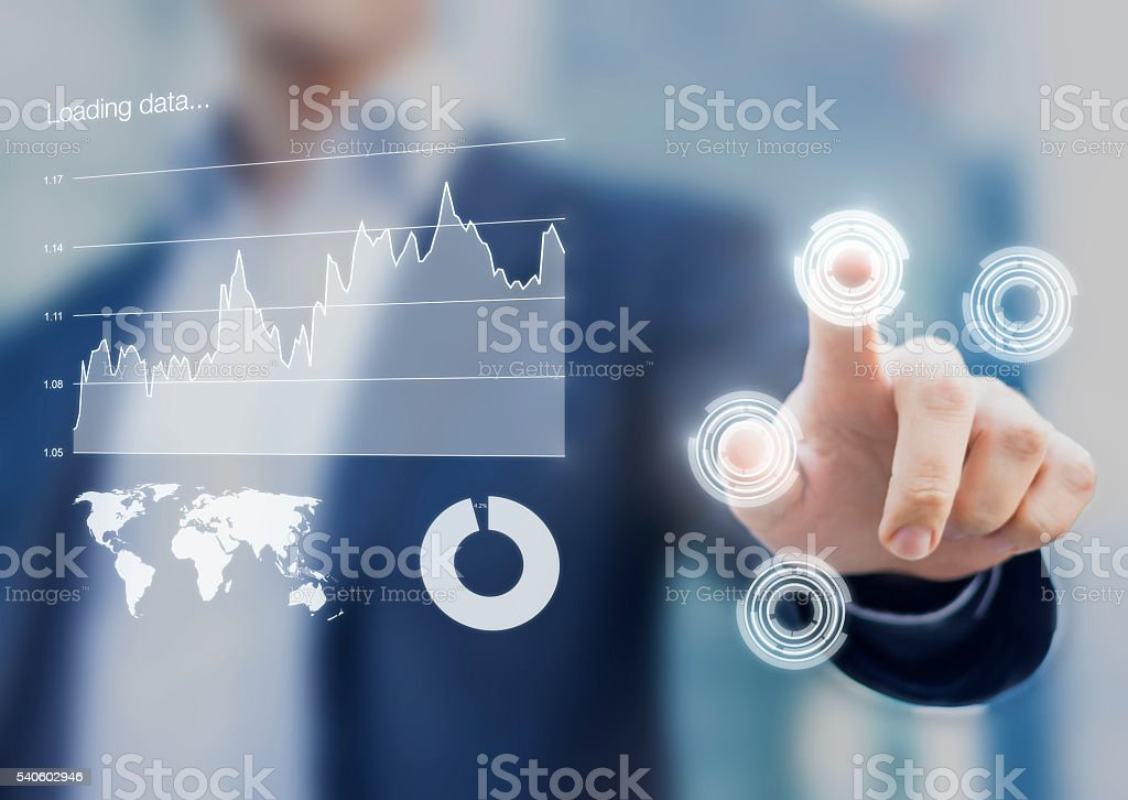 Head-up display interface showing business intelligence dashboard stock photo