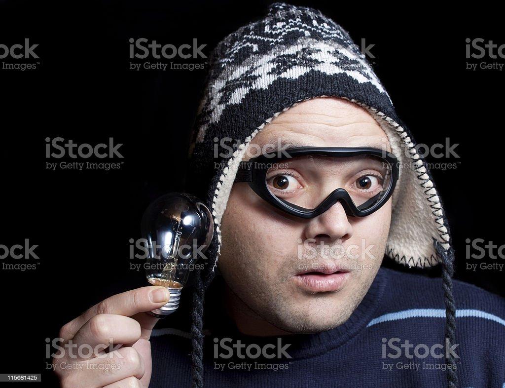 headworker hold bulb stock photo