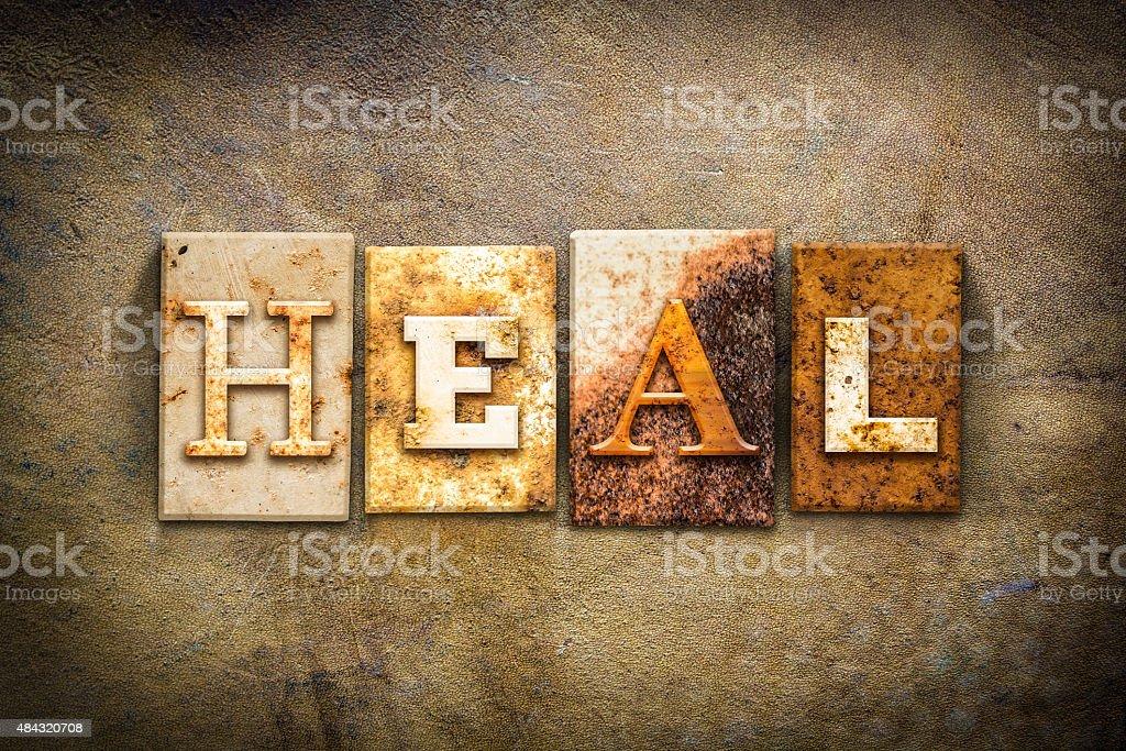 Heal Concept Letterpress Leather Theme stock photo