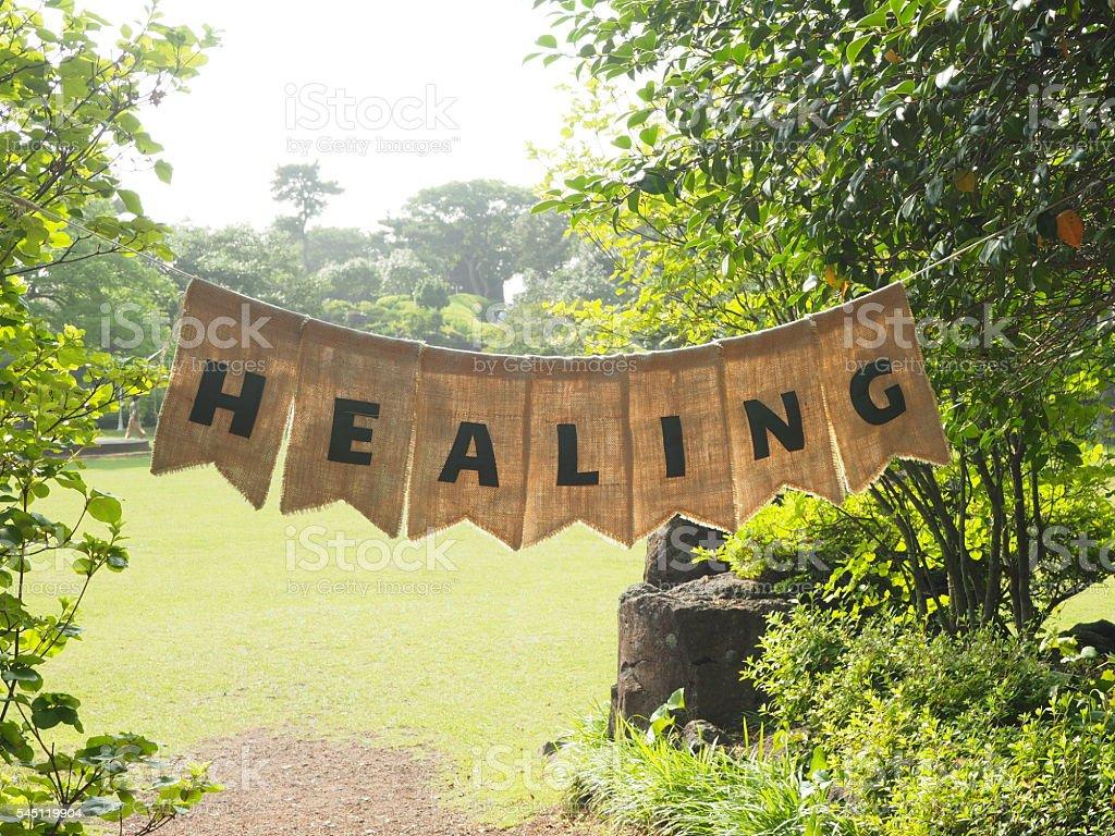 Healing banner stock photo