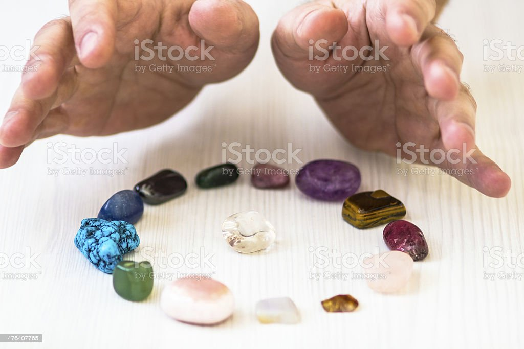 Healing crystals stock photo