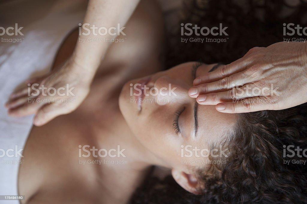 healing hands massage stock photo