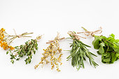 Healing herbs bunches on white.