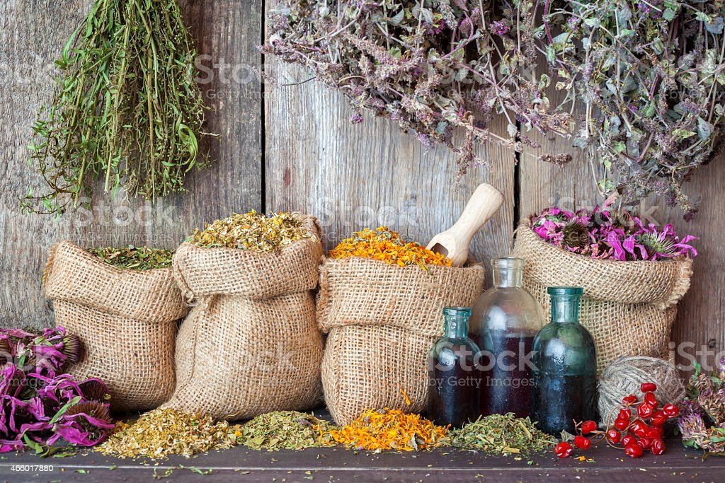 Healing herbs in hessian bags and bottles of essential oil stock photo