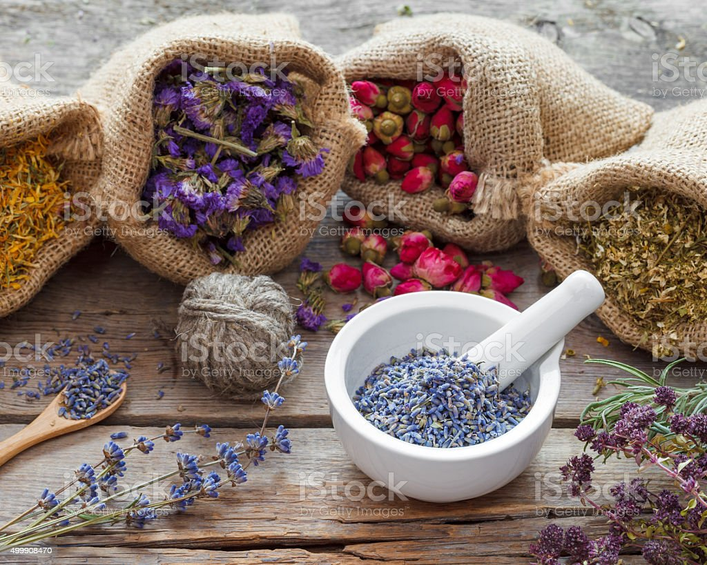 Healing herbs in hessian bags and mortar with dry lavender stock photo
