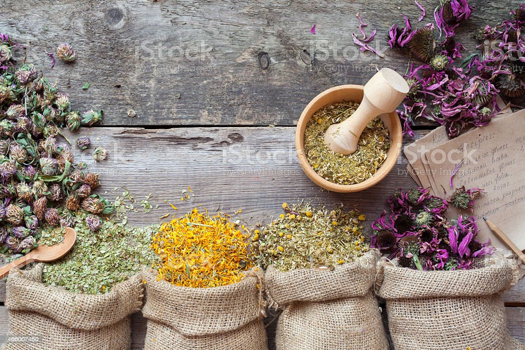 Healing herbs in hessian bags, wooden mortar and recipe stock photo