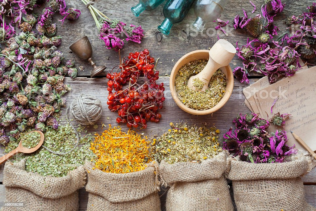Healing herbs in hessian bags, wooden mortar and small bottles stock photo