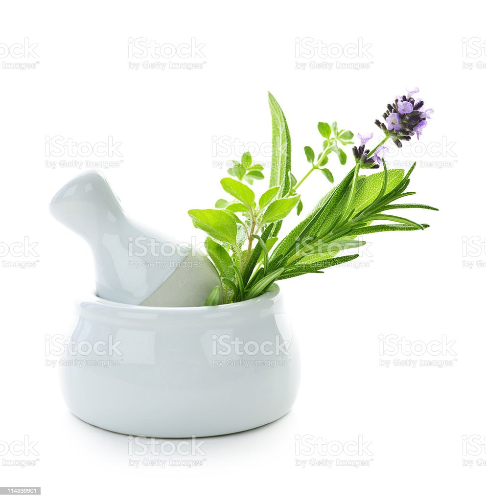 Healing herbs in mortar and pestle royalty-free stock photo