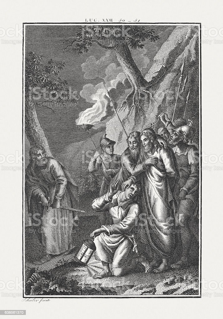 Healing the ear of a servant (Luke 22), published c.1850 stock photo