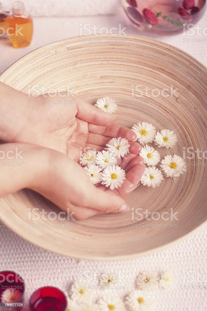 healing therapy with water and flower stock photo