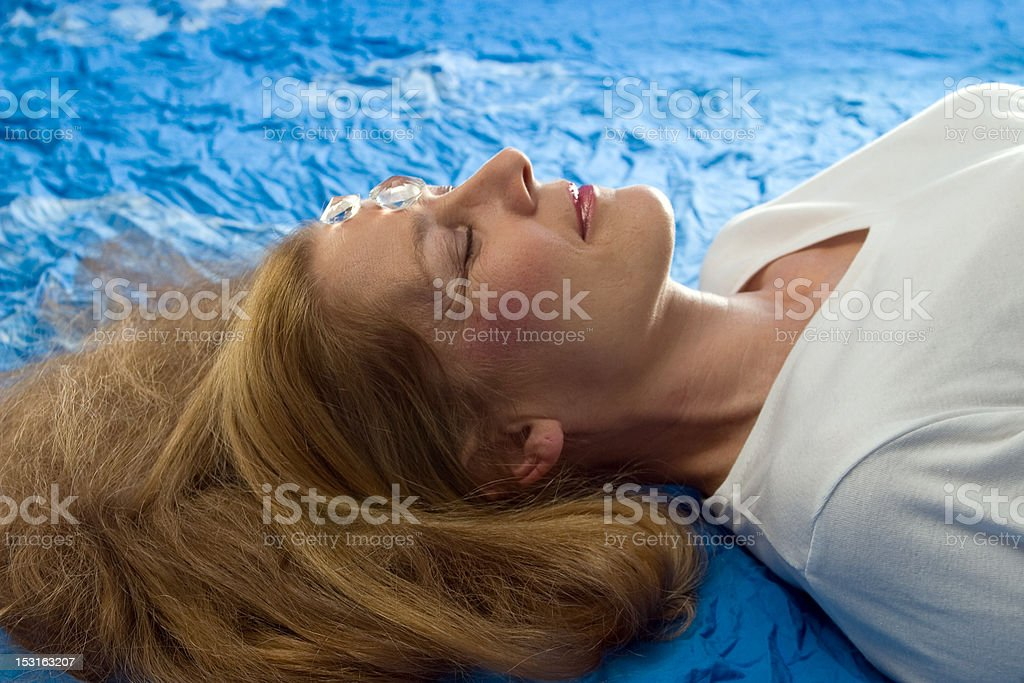 Healing with mountain crystal stock photo