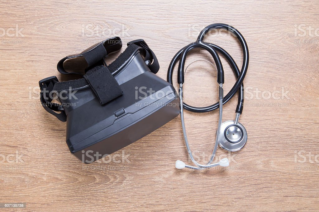 Health and diagnostic concept of 3d VR headset stock photo