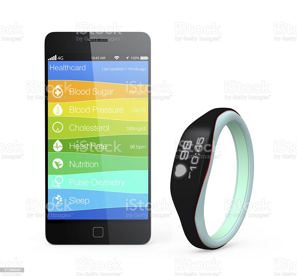 Health and fitness information synchronize from smart wristband stock photo