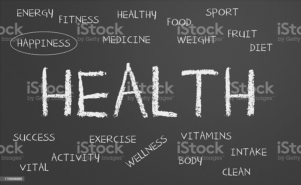 Health and related words surrounding it in smaller letters stock photo