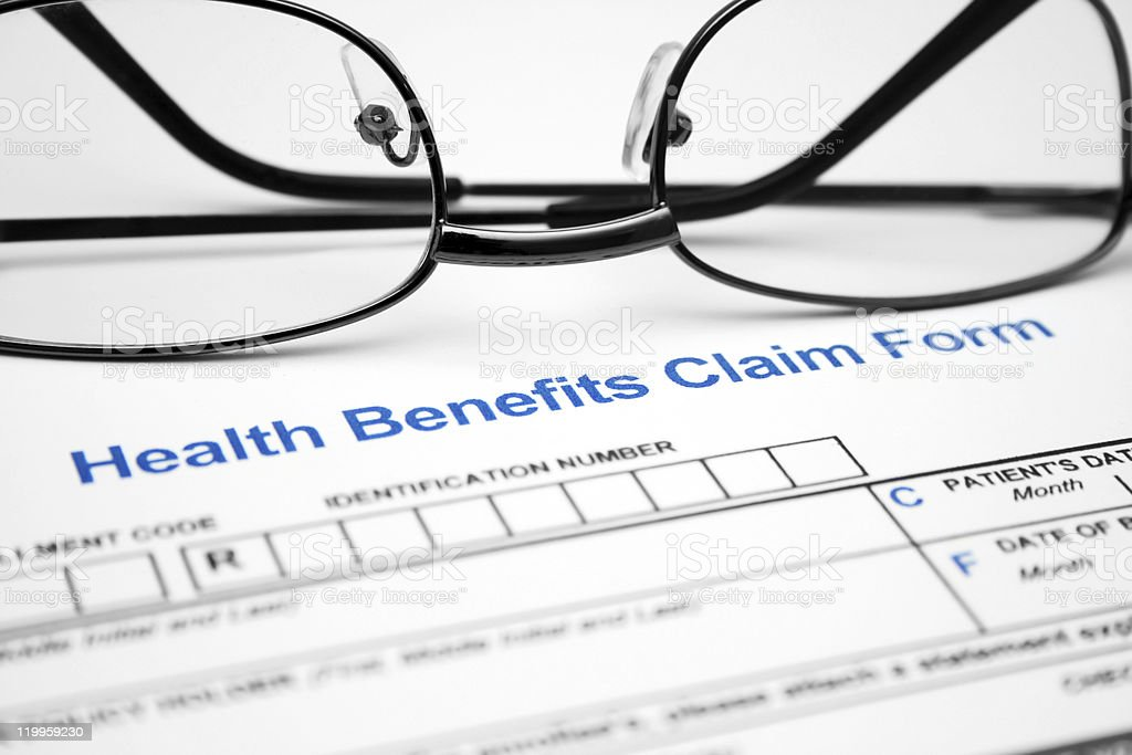 Health benefits claim form stock photo