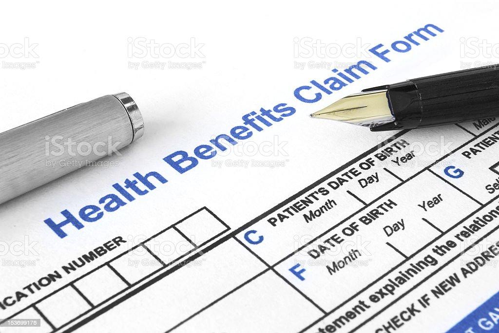 Health Benefits Claim Form royalty-free stock photo