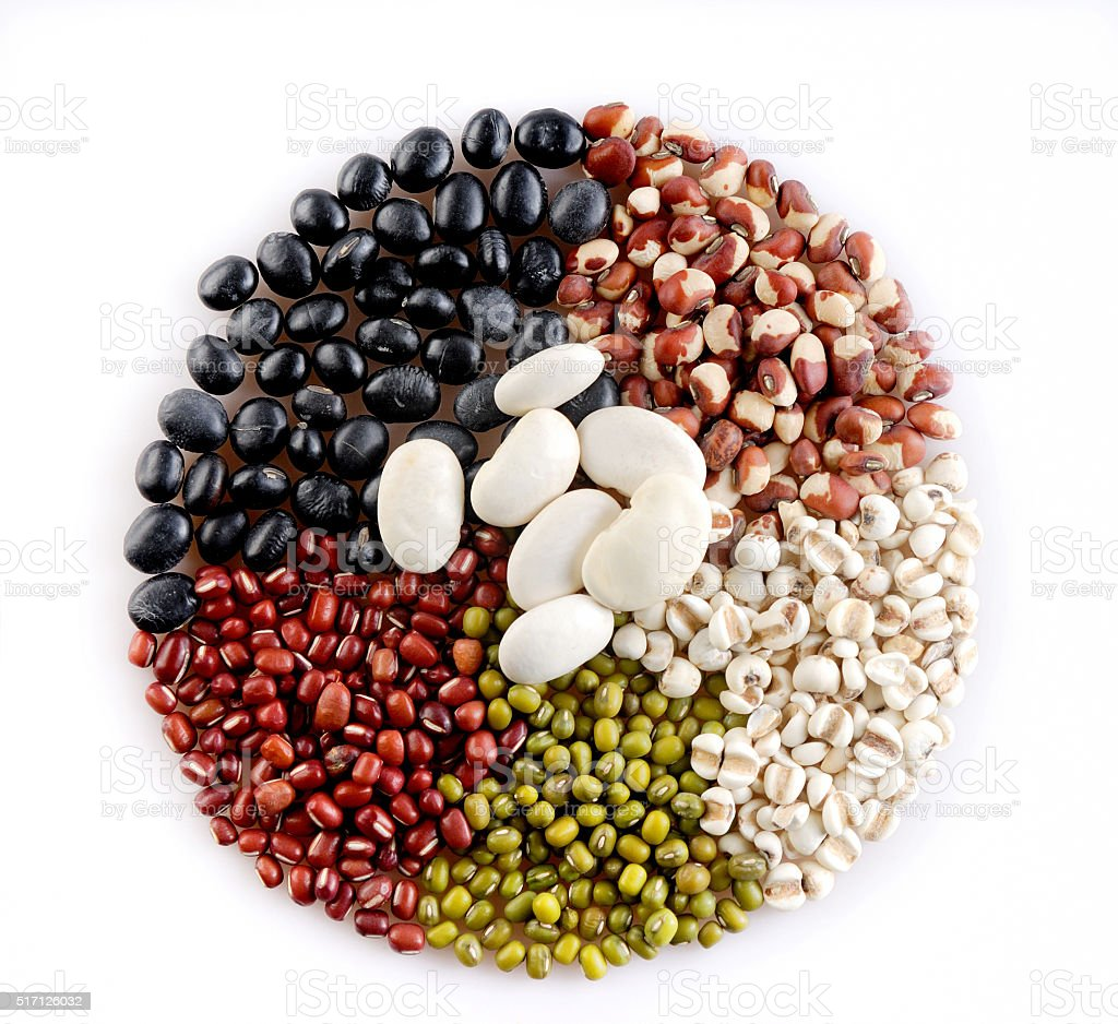 Health benefits of all kinds of beans stock photo