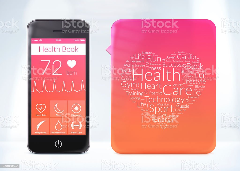 Health book application for smartphone with word cloud sticker stock photo