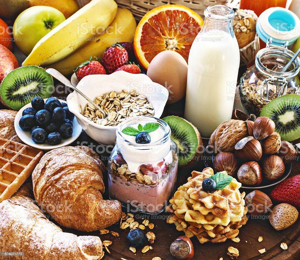 Health breakfast table. stock photo