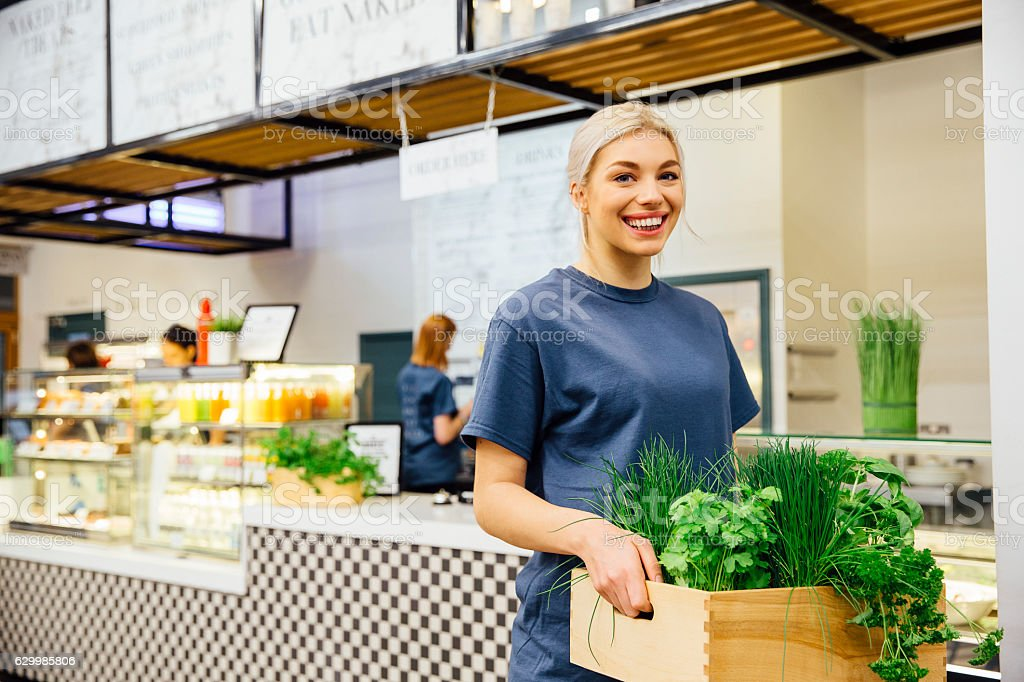 Health Cafe Worker stock photo