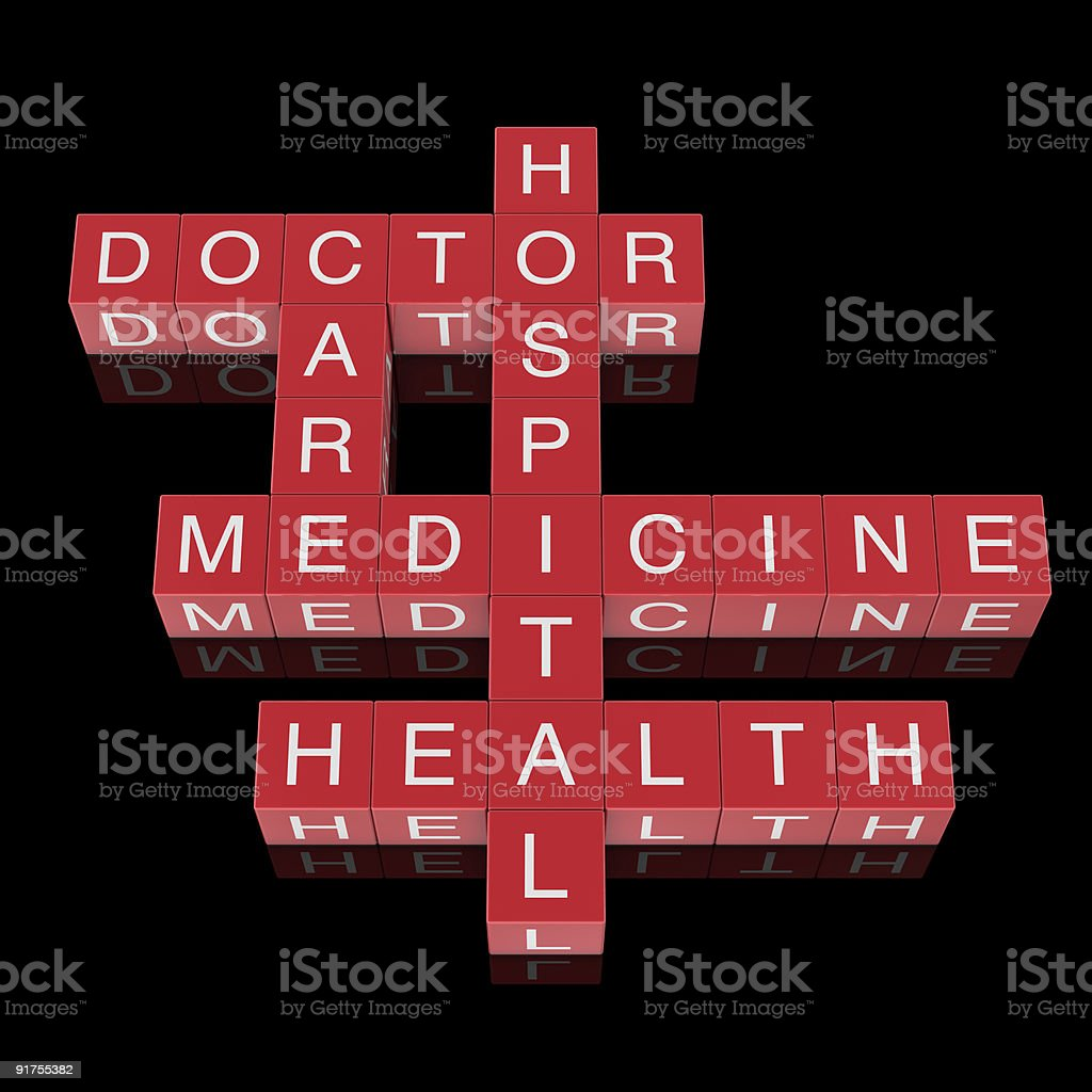 Health care and medicine crossword royalty-free stock photo