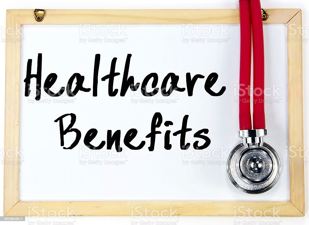 health care benefits text write on blackboard stock photo