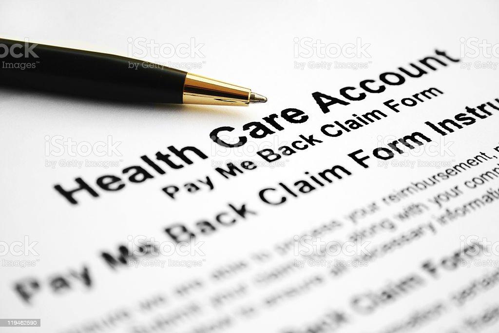 Health care claim form royalty-free stock photo