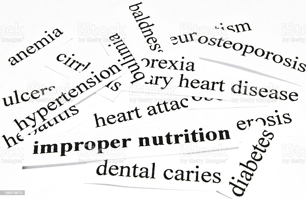 Health care concept of diseases caused by unhealthy nutrition royalty-free stock photo