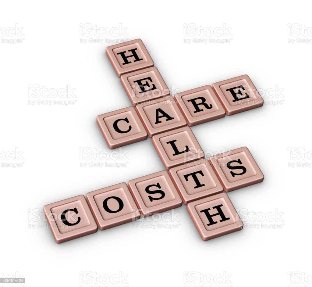 Health Care Costs Crossword Puzzle In Rose Gold Color stock photo
