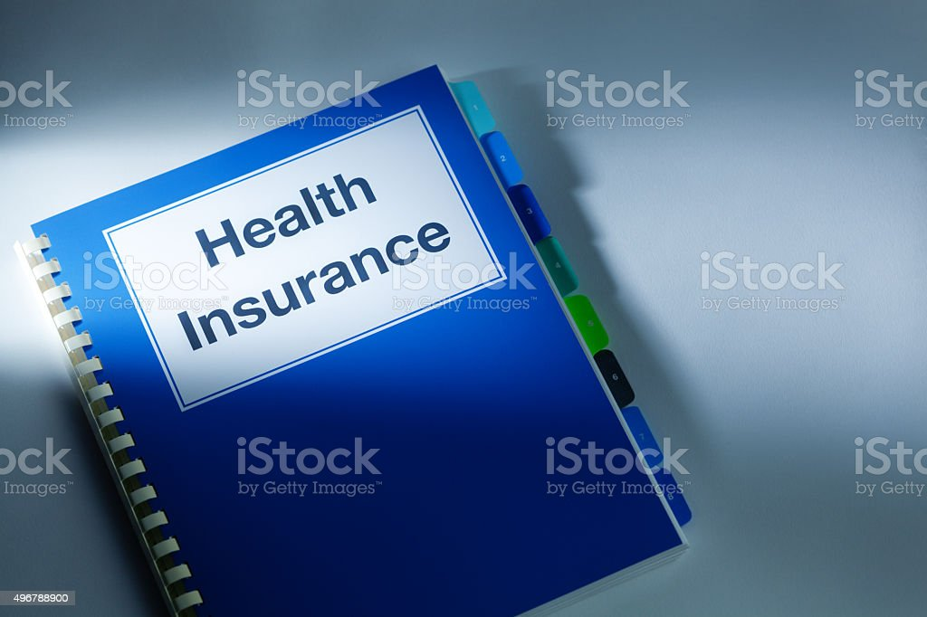 Health Care Insurance document Manual Policy stock photo