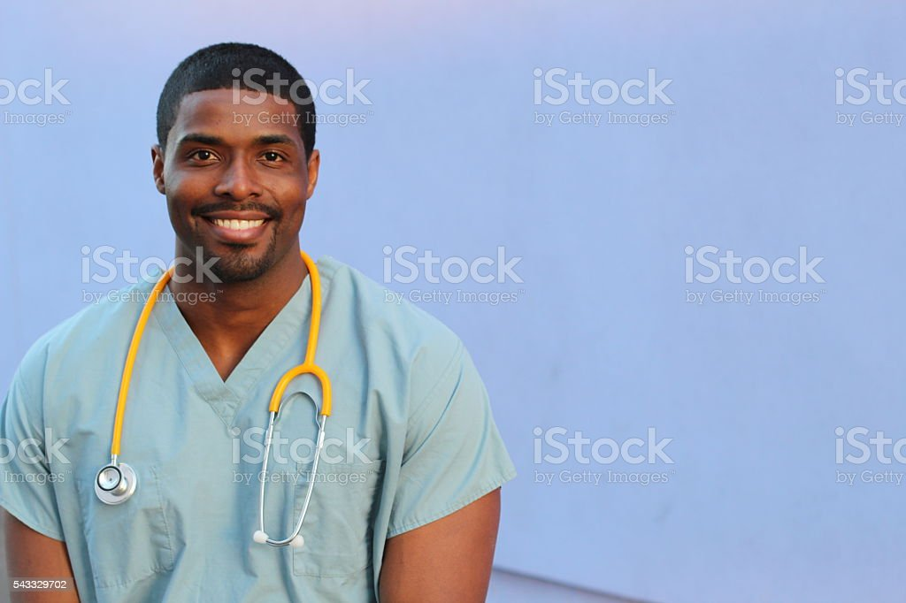 Health care professional with copy space stock photo