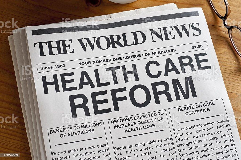 Health Care Reform Headline stock photo