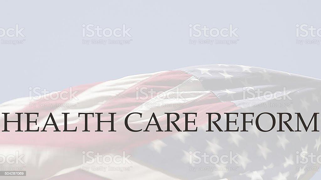 health care reform words on USA flag stock photo