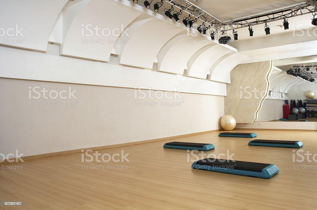 Health club aerobics studio featuring steps royalty-free stock photo