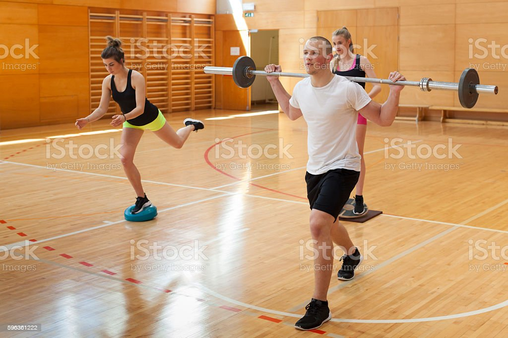 Health Club of Young athletes in the Gym stock photo
