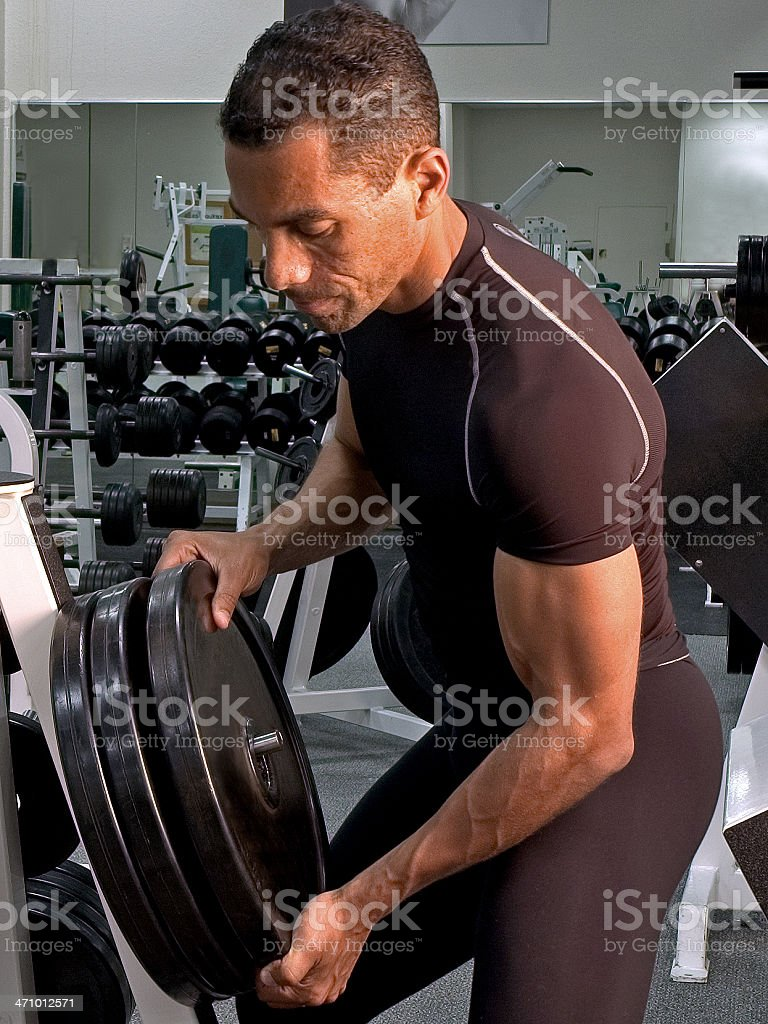 Health club workout series - weights royalty-free stock photo