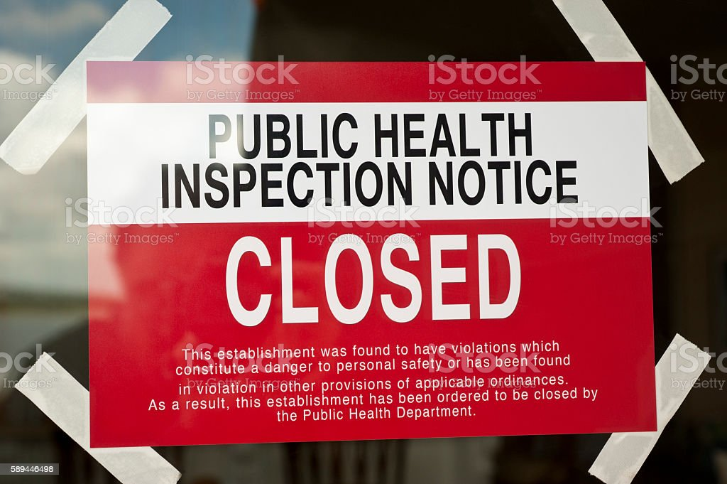 Health Department Restaurant Closed Sign with Roaches stock photo
